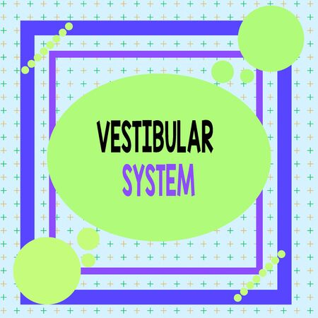 Text sign showing Vestibular System. Business photo showcasing provides the leading contribution to the sense of balance Asymmetrical uneven shaped format pattern object outline multicolour design