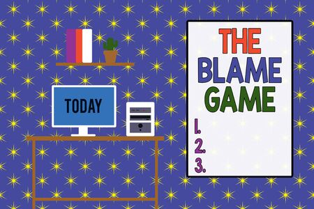 Word writing text The Blame Game. Business photo showcasing A situation when showing attempt to blame one another Desktop computer wooden table background shelf books flower pot ornaments Stock Photo
