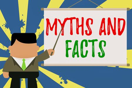 Text sign showing Myths And Facts. Business photo text Oppositive concept about modern and ancient period Businessman standing in front projector screen pointing project idea