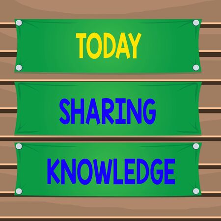 Conceptual hand writing showing Sharing Knowledge. Concept meaning knowledge is exchanged among showing or organizations Wooden panel attached nail on colorful background plank wood