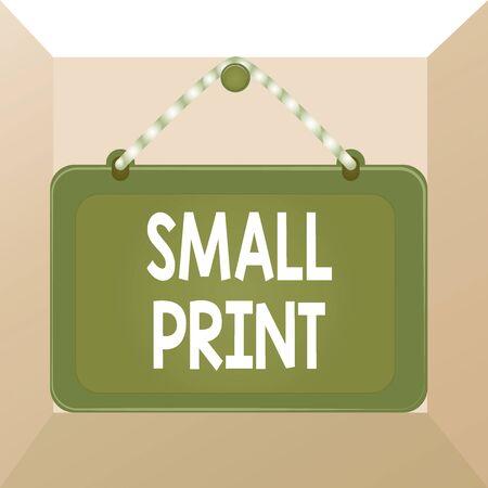Escritura a mano conceptual mostrando letra pequeña. Concepto Significado documento que contiene detalles importantes escritos en tablero de letras pequeñas marco de clavo fijo panel de rectángulo de fondo coloreado
