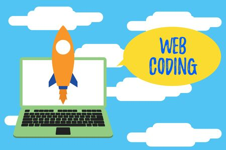Conceptual hand writing showing Web Coding. Concept meaning work involved in developing a web site for the Internet Launching rocket up laptop Startup Developing goal objective