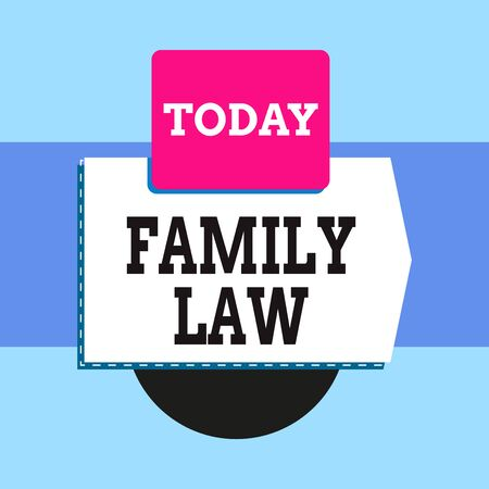 Text sign showing Family Law. Business photo text the branch of law that deals with matters relating to the family Blank banner rectangle square above semicircle down Geometrical background Foto de archivo - 135404839