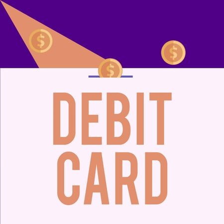 Writing note showing Debit Card. Business concept for card that deducts money directly from a demonstrating s is checking account Three gold spherical coins value thousand dollars bounce to piggy bank Banco de Imagens