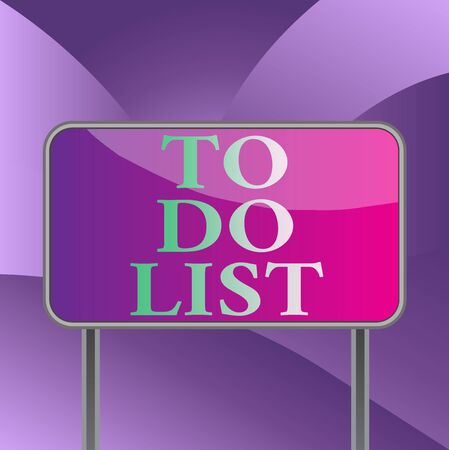 Handwriting text writing To Do List. Conceptual photo A structure that usualy made in paper contining task of yours Board ground metallic pole empty panel plank colorful backgound attached