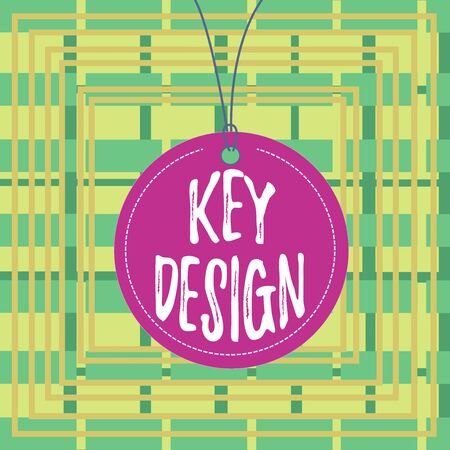 Text sign showing Key Design. Business photo showcasing a necessary or very important realization of a concept or idea Badge circle label string rounded empty tag colorful background small shape Foto de archivo - 135193339