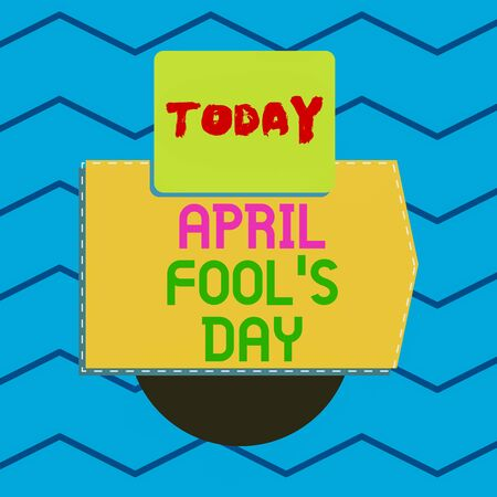 Writing note showing April Fool S Day. Business concept for Practical jokes humor pranks Celebration funny foolish Electronic device with non symmetrical triangle for printing