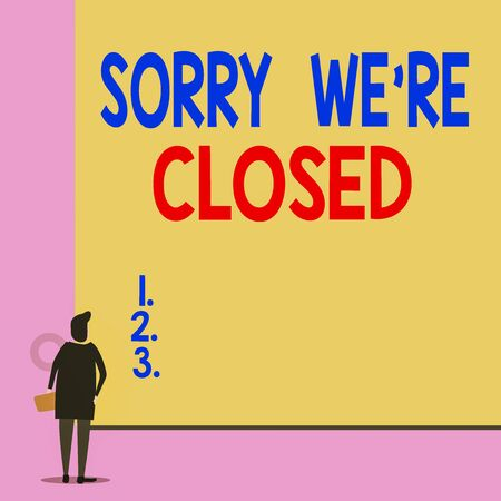 Text sign showing Sorry We Re Closed. Business photo showcasing Expression of Regret Disappointment Not Open Sign Back view young woman watching blank big rectangle. Geometrical background Banque d'images