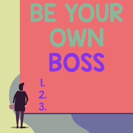 Pisanie notatki pokazującej Be Your Own Boss. Koncepcja biznesowa dla przedsiębiorczości Rozpoczęcie działalności Niezależność Samozatrudniony Widok z tyłu młoda kobieta ogląda pusty duży prostokąt