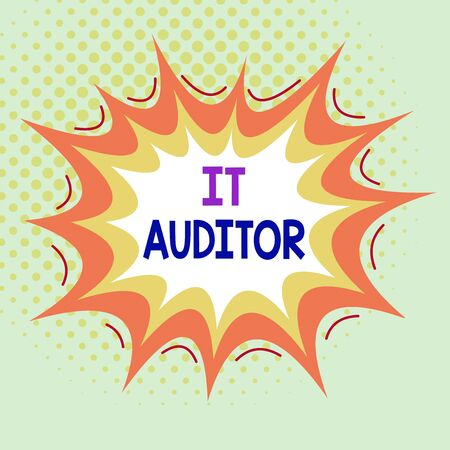 Word writing text It Auditor. Business photo showcasing demonstrating authorized to review and verify the accuracy of the system Asymmetrical uneven shaped format pattern object outline multicolour design