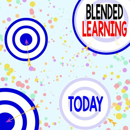 Handwriting text Blended Learning. Conceptual photo combines traditional classroom lessons with online teaching Arrow and round target inside asymmetrical shaped object multicolour design