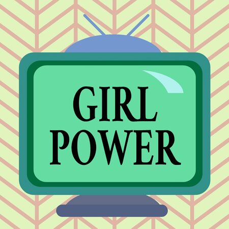 Word writing text Girl Power. Business photo showcasing assertiveness and selfconfidence shown by girls or young woanalysis Square rectangle old multicoloured painting television picture wood design