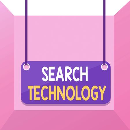 Conceptual hand writing showing Search Technology. Concept meaning service that allows Internet users to search for content Board color background plank attached string panel rectangle