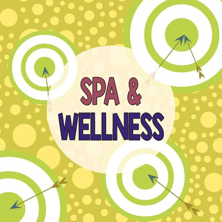 Text sign showing Spa And Wellness. Business photo text Place where showing go to improve their health Relaxation Arrow and round target inside asymmetrical shaped object multicolour design
