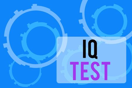 Text sign showing Iq Test. Business photo text attempt to measure your cognitive ability huanalysis intelligence Abstract Texture background with gears plain color behind. Gradient Pattern Stock Photo - 135487387