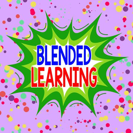 Writing note showing Blended Learning. Business concept for combines traditional classroom lessons with online teaching Asymmetrical uneven shaped pattern object multicolour design Stock Photo