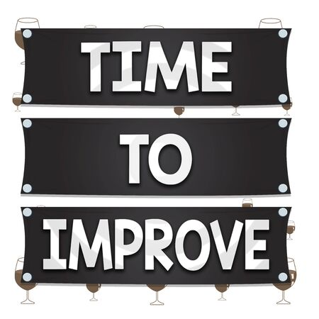 Text sign showing Time To Improve. Business photo text telling someone to develop himself Study hard Courses Wooden panel attached nail colorful background rectangle lumber plank wood Фото со стока