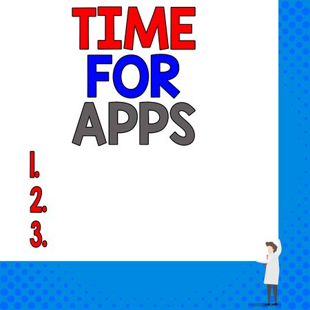 Conceptual hand writing showing Time For Apps. Concept meaning The best fullfeatured service that helps communicate faster Young woman holding two hands right corner blank rectangle