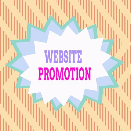 Conceptual hand writing showing Website Promotion. Concept meaning increase exposure of a website to bring more visitors Asymmetrical uneven shaped pattern object multicolour design