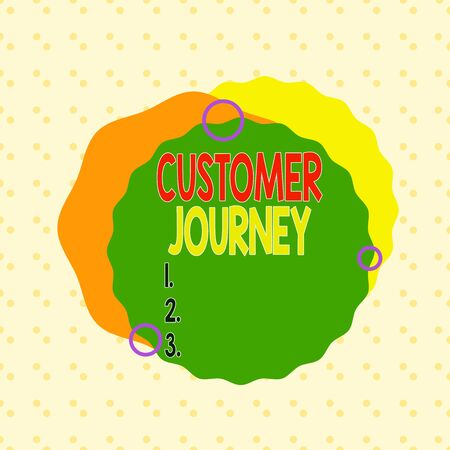 Writing note showing Customer Journey. Business concept for customers experiencesgo through interacting with brand Asymmetrical format pattern object outline multicolor design 스톡 콘텐츠