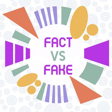 Conceptual hand writing showing Fact Vs Fake. Concept meaning Rivalry or products or information originaly made or imitation Asymmetrical format pattern object outline multicolor design