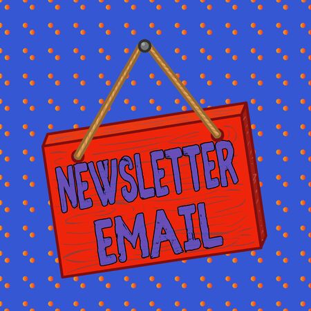 Conceptual hand writing showing Newsletter Email. Concept meaning email sent to subscribers informing them about the news Square rectangle unreal cartoon wood on the coloured wall Banco de Imagens