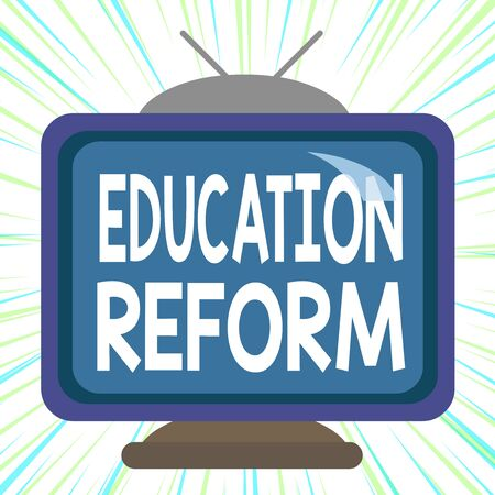 Conceptual hand writing showing Education Reform. Concept meaning planned changes in the way a school system functions Square rectangle unreal cartoon wood on the coloured wall