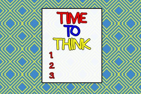 Conceptual hand writing showing Time To Think. Concept meaning Reconsider some things Reflection time Moment to ponder Repeating geometrical rhombus pattern Seamless design Wallpaper