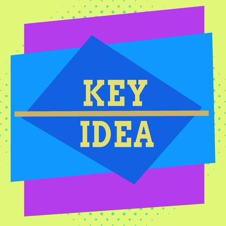Escribir nota que muestra la idea clave. Concepto de negocio para pensamiento o sugerencia excepcional o vital sin comparación Diseño multicolor de contorno de objeto de patrón de formato asimétrico Foto de archivo