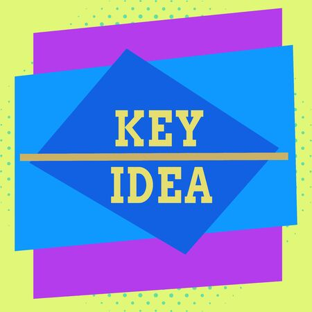 Writing note showing Key Idea. Business concept for Exceptional or vital thought or suggestion Without comparison Asymmetrical format pattern object outline multicolor design Stock Photo