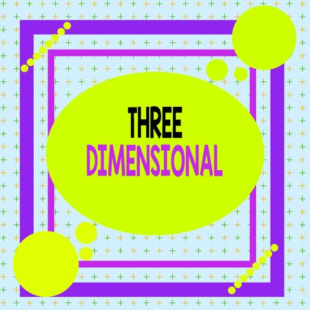 Text sign showing Three Dimensional. Business photo showcasing Things that have depth and can be rotated in space Asymmetrical uneven shaped format pattern object outline multicolour design 免版税图像