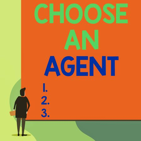 Writing note showing Choose An Agent. Business concept for Choose someone who chooses decisions on behalf of you Back view young woman watching blank big rectangle