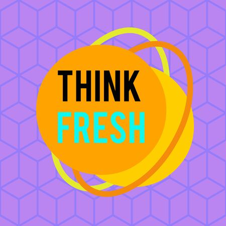 Conceptual hand writing showing Think Fresh. Concept meaning Thinking on natural ingredients Positive good environment Asymmetrical format pattern object outline multicolor design