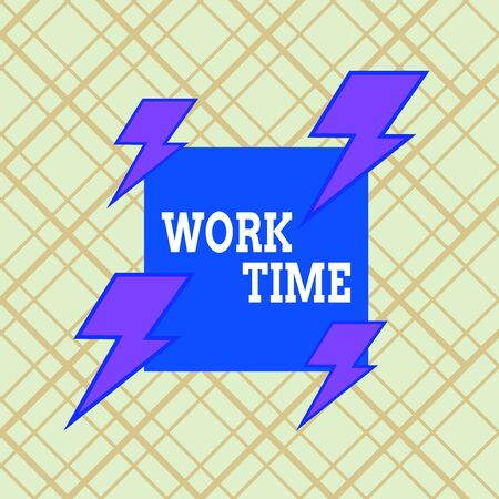 Writing note showing Work Time. Business concept for period starts when temporary workers are engaged at a worksite Asymmetrical format pattern object outline multicolor design Stok Fotoğraf