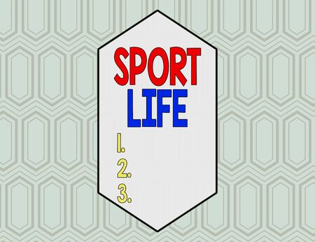 Conceptual hand writing showing Sport Life. Concept meaning Fond of sports or other outdoor activities Physically active Seamless Hexagon Tiles in Line Perspective Depth Deepness