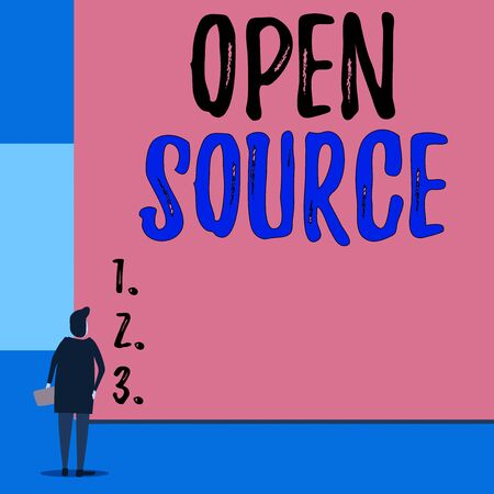 Text sign showing Open Source. Business photo showcasing denoting software which original source code is made free Back view young woman watching blank big rectangle. Geometrical background