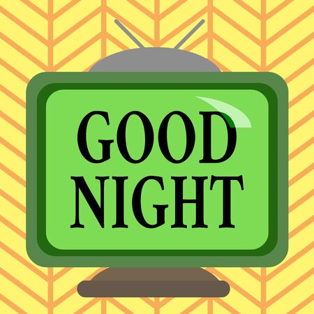 Word writing text Good Night. Business photo showcasing expressing good wishes on parting at night or before going to bed Square rectangle old multicoloured painting television picture wood design