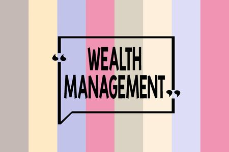 Writing note showing Wealth Management. Business concept for perforanalysisce tracking of the funds as per regular market Seamless vertical lines background drawing lines wallpaper banner Stock Photo