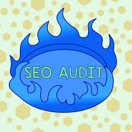 Text sign showing Seo Audit. Business photo showcasing Search Engine Optimization validating and verifying process Asymmetrical uneven shaped format pattern object outline multicolour design