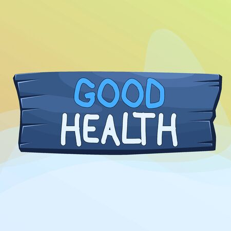 Writing note showing Good Health. Business concept for state of being vigorous and free from bodily or mental disease Wooden board rectangle shaped wood attached color background Banco de Imagens