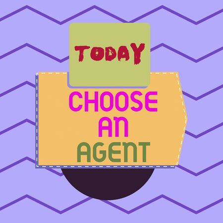 Writing note showing Choose An Agent. Business concept for Choose someone who chooses decisions on behalf of you Electronic device with non symmetrical triangle for printing