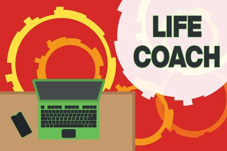 Writing note showing Life Coach. Business concept for someone who helps identify your goals and plan to achieve them Office working place laptop lying wooden desk smartphone