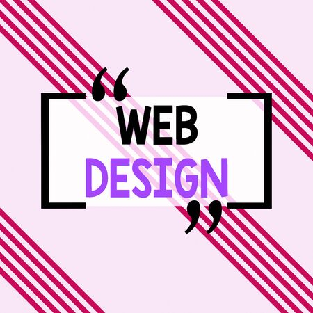 Writing note showing Web Design. Business concept for Website development Designing and process of creating websites Square rectangle paper sheet loaded with full creation of pattern theme Stock Photo - 134899489