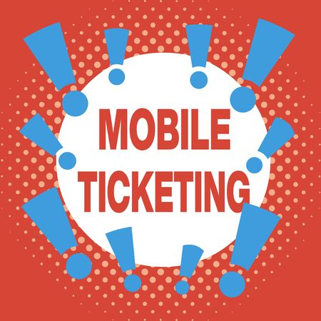 Writing note showing Mobile Ticketing. Business concept for tickets arrive as a text message with a special barcode Asymmetrical uneven shaped pattern object multicolour design Standard-Bild
