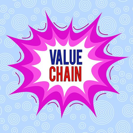 Conceptual hand writing showing Value Chain. Concept meaning process or activities by which company adds value to an article Asymmetrical uneven shaped pattern object multicolour design