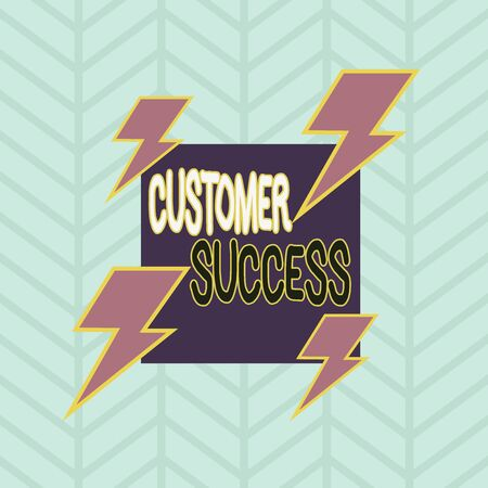 Conceptual hand writing showing Customer Success. Concept meaning customers achieve desired outcomes while using your product Asymmetrical format pattern object outline multicolor design