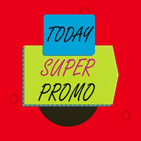 Text sign showing Super Promo. Business photo text piece of publicity or advertising in the form of a short film Blank banner rectangle square above semicircle down Geometrical background