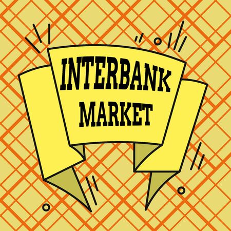 Writing note showing Interbank Market. Business concept for forex market where banks exchange different currencies Asymmetrical uneven shaped pattern object multicolour design