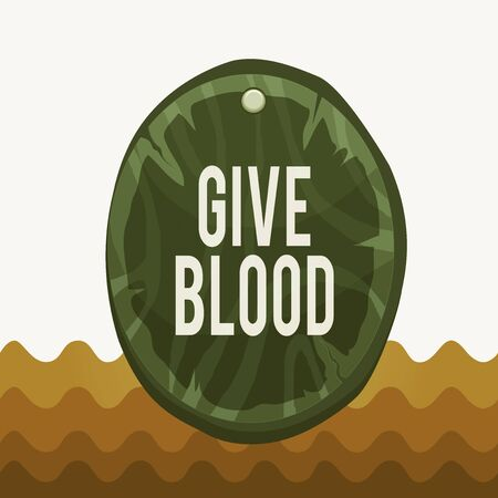 Conceptual hand writing showing Give Blood. Concept meaning demonstrating voluntarily has blood drawn and used for transfusions Oval plank round wooden board circle shaped wood background Reklamní fotografie