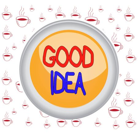 Writing note showing Good Idea. Business concept for an excellent suggestion and plan for achieving something Colored sphere switch center background middle round shaped